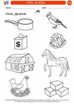 English Language Arts - Kindergarten - Worksheet: Circle _ay words.