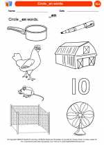 English Language Arts - Kindergarten - Worksheet: Circle _en words.