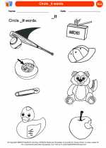 English Language Arts - Kindergarten - Worksheet: Circle _it words.