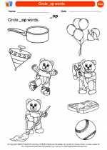 English Language Arts - Kindergarten - Worksheet: Circle _op words.