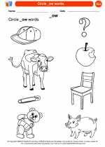 English Language Arts - Kindergarten - Worksheet: Circle _ow words.