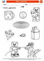 English Language Arts - Kindergarten - Worksheet: Circle _ug words.