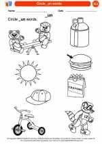 English Language Arts - Kindergarten - Worksheet: Circle _un words.