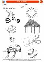 English Language Arts - Kindergarten - Worksheet: Circle _ut words.