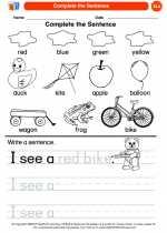 English Language Arts - Kindergarten - Worksheet: Complete the Sentence