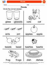 English Language Arts - Kindergarten - Worksheet: Plurals