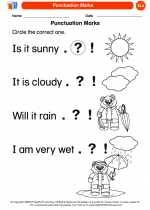 English Language Arts - Kindergarten - Worksheet: Punctuation Marks