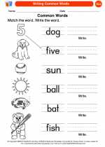 English Language Arts - Kindergarten - Worksheet: Writing Common Words