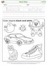Mathematics - Kindergarten - Worksheet: Black White