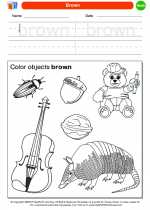 Mathematics - Kindergarten - Worksheet: Brown