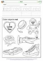Mathematics - Kindergarten - Worksheet: Red