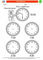 Mathematics - Kindergarten - Worksheet: Hour/Half-hour