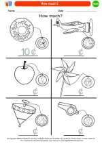 Mathematics - Kindergarten - Worksheet: How much?