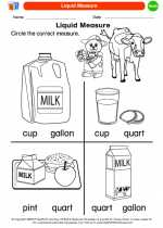 Mathematics - Kindergarten - Worksheet: Liquid Measure