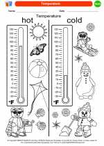 Mathematics - Kindergarten - Worksheet: Temperature