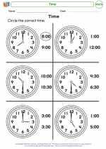 Mathematics - Kindergarten - Worksheet: Time