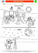 Mathematics - Kindergarten - Worksheet: What time of day?
