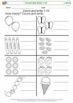 Mathematics - Kindergarten - Worksheet: Count and write 1-10