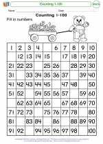 Mathematics - Kindergarten - Worksheet: Counting 1-100