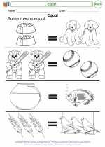 Mathematics - Kindergarten - Worksheet: Equal