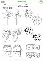 Mathematics - Kindergarten - Worksheet: More or Less