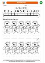 Mathematics - Kindergarten - Worksheet: Number Order