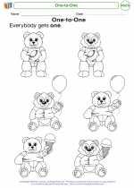 Mathematics - Kindergarten - Worksheet: One-to-One