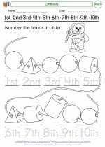 Mathematics - Kindergarten - Worksheet: Ordinals