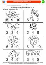 Mathematics - Kindergarten - Worksheet: Recognizing Numbers 1-10