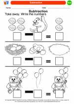 Mathematics - Kindergarten - Worksheet: Subtraction