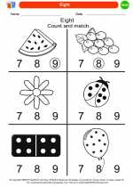 Mathematics - Kindergarten - Worksheet: Eight