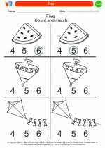 Mathematics - Kindergarten - Worksheet: Five