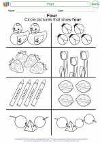 Mathematics - Kindergarten - Worksheet: Four