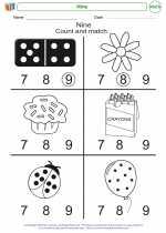 Mathematics - Kindergarten - Worksheet: Nine