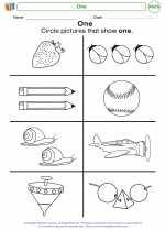 Mathematics - Kindergarten - Worksheet: One