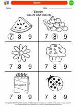 Mathematics - Kindergarten - Worksheet: Seven