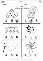 Mathematics - Kindergarten - Worksheet: Six