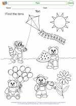 Mathematics - Kindergarten - Worksheet: Ten