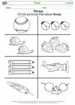 Mathematics - Kindergarten - Worksheet: Three