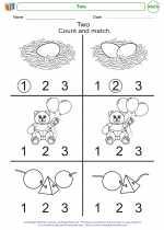 Mathematics - Kindergarten - Worksheet: Two