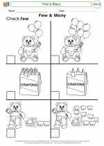 Mathematics - Kindergarten - Worksheet: Few & Many