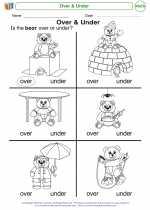 Mathematics - Kindergarten - Worksheet: Over & Under