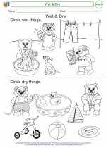 Mathematics - Kindergarten - Worksheet: Wet & Dry
