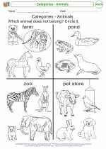 Mathematics - Kindergarten - Worksheet: Categories - Animals