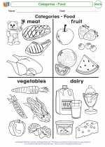 Mathematics - Kindergarten - Worksheet: Categories - Food