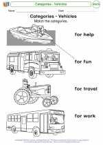Mathematics - Kindergarten - Worksheet: Categories - Vehicles