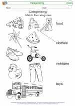 Mathematics - Kindergarten - Worksheet: Categorizing