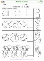 Mathematics - Kindergarten - Worksheet: Patterns I (a-b-a-b)