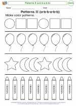 Mathematics - Kindergarten - Worksheet: Patterns II (a-b-b-a-b-b)
