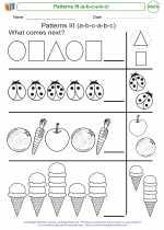Mathematics - Kindergarten - Worksheet: Patterns III (a-b-c-a-b-c)